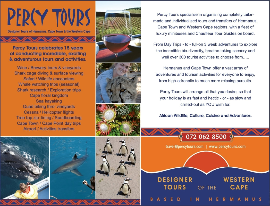 For loads of amazing Activities, Tours and Holiday Adventures in Hermanus and beyond - check out www.percytours.com