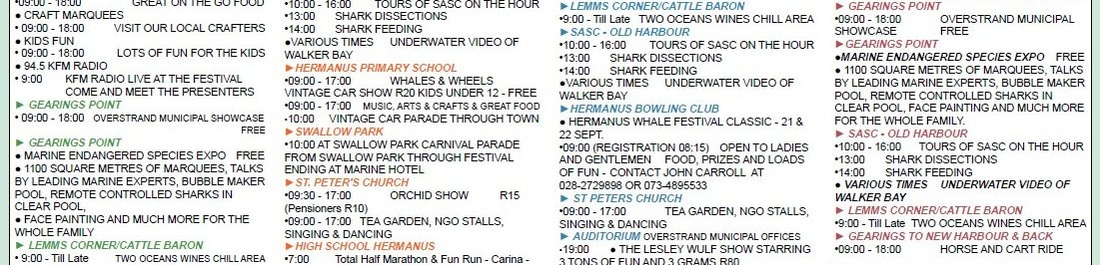 Hermanus Whale Festival events schedule 2013