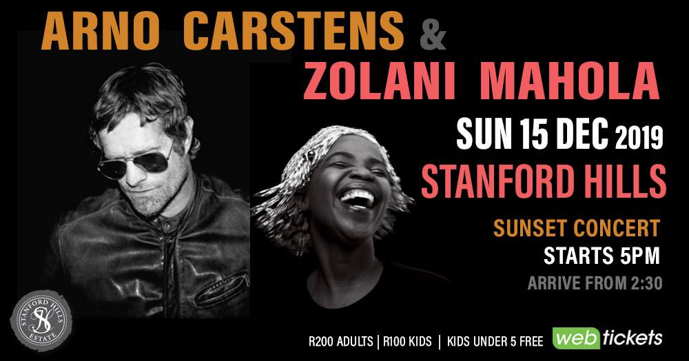 Arno Carstens and Zolani Mahola 15th Dec 2019 concert Stanford Hills