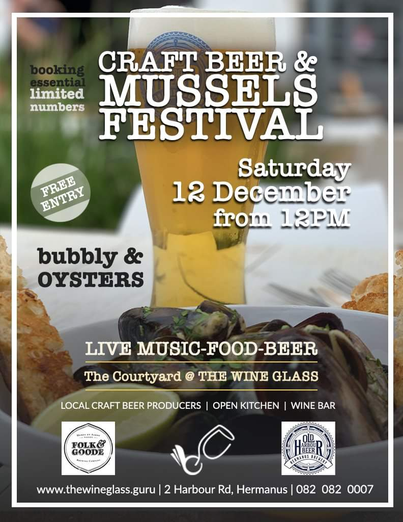 Beer and Mussels Festival - 12th Dec - at the Wine Glass in Hermanus