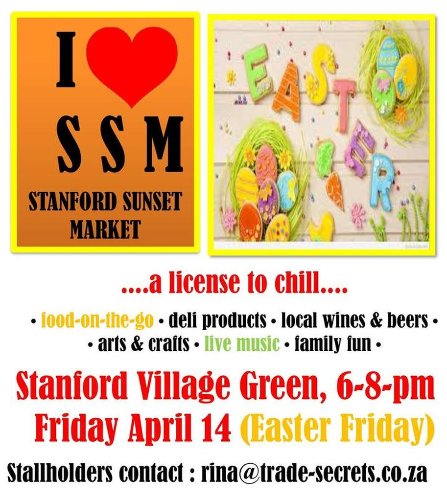 Stanford Sunset Market 14th April 2017 6pm to 8pm - in the Village Green - (25mins from Hermanus)