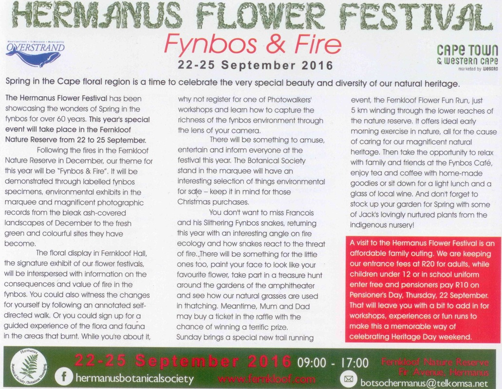 Hermanus Flower Festival at Fernkloof on 22nd to 25th September 2016