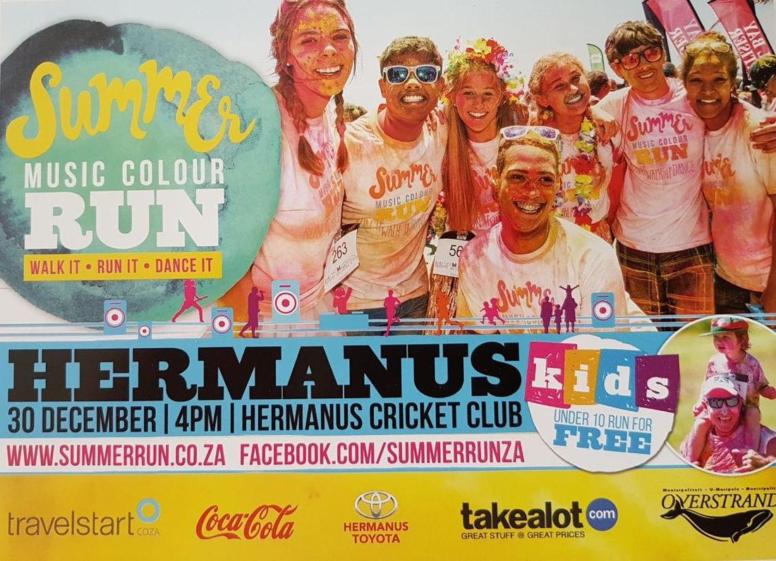 Colour Run Hermanus 30th December 16.00pm at Hermanus Cricket Club