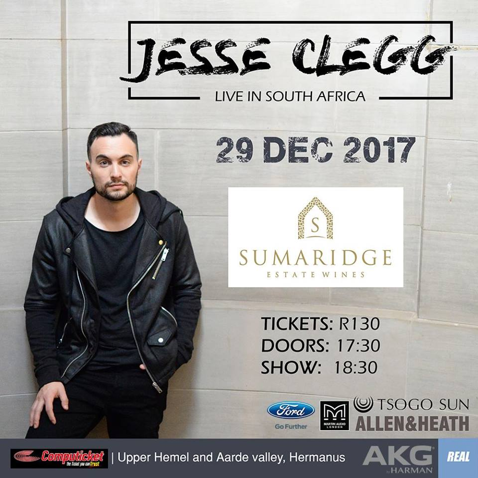Jesse Clegg concert 29 December at 17:30-20:30pm - Sumaridge Winery Hermanus