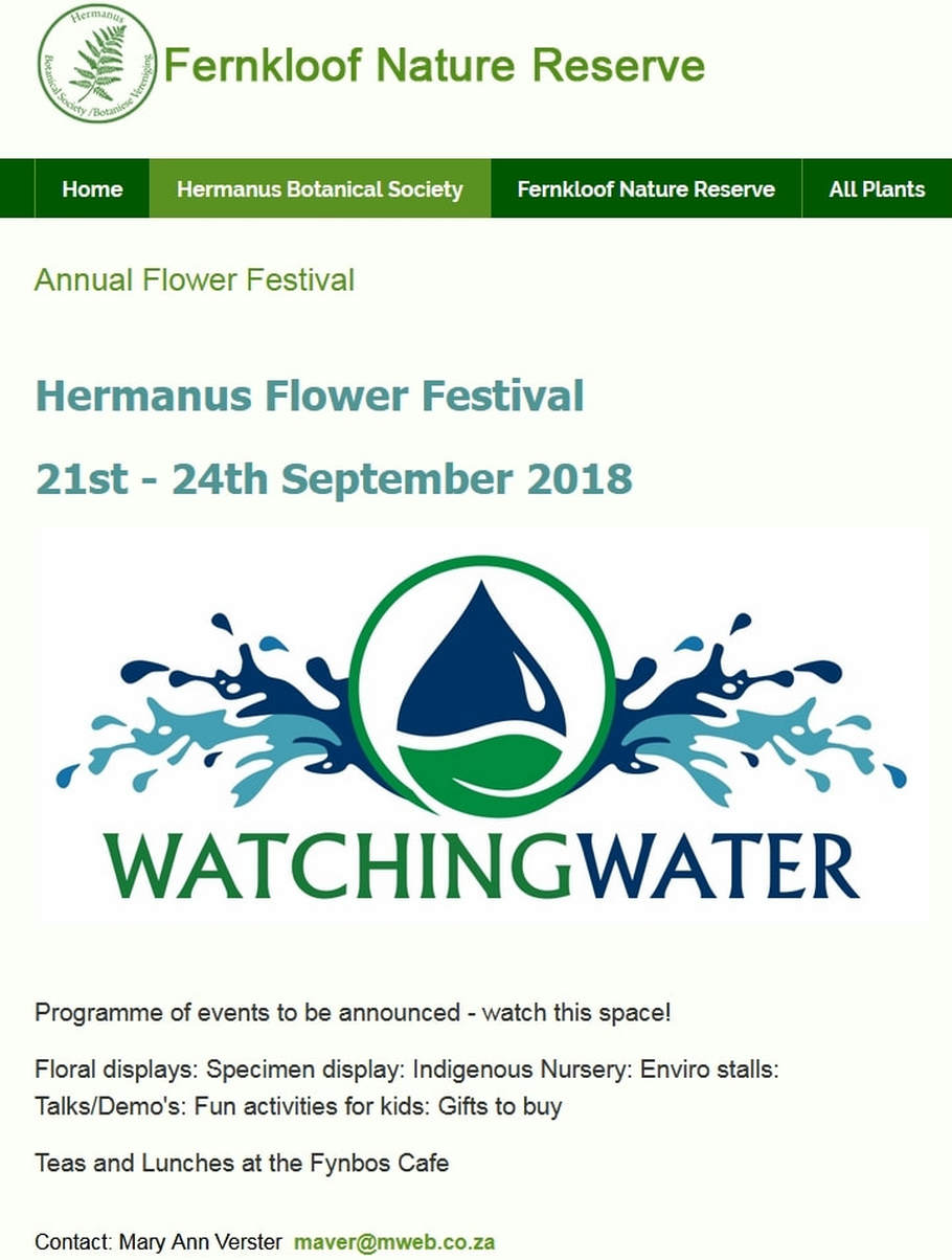 2018 Fernkloof Flower Festival in Hermanus 21st to 24th SEPT 2018