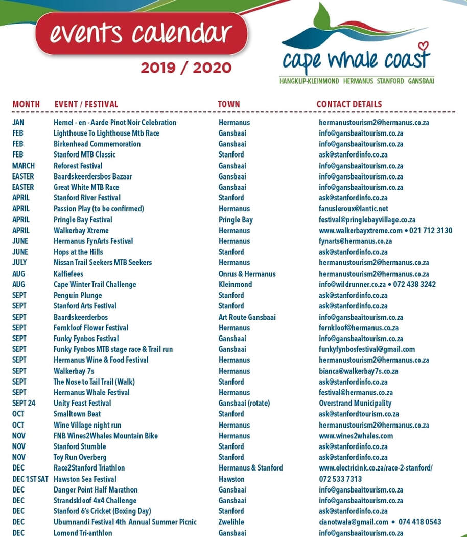 Annual list of Festival, Events and show in Hermanus, Stanford, Gansbaai and beyond....
