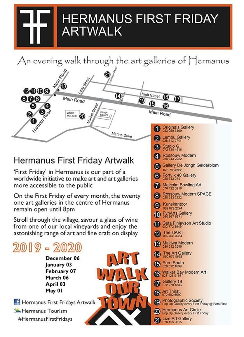First Friday Art Walk in Hermanus - calender 2019 into 2020